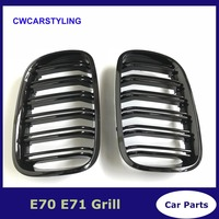 A Pair Left And Right E70 / E71 Gloss Black Double Slat Kidney Grille Front Bumper Grill For BMW X5 X6 2007 2014
