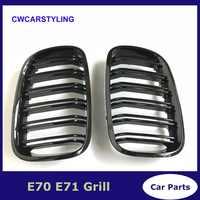 Une paire gauche et droite E70/E71 brillant noir Double latte rein Grille pare-chocs avant Grill pour BMW X5 X6 2007-2014