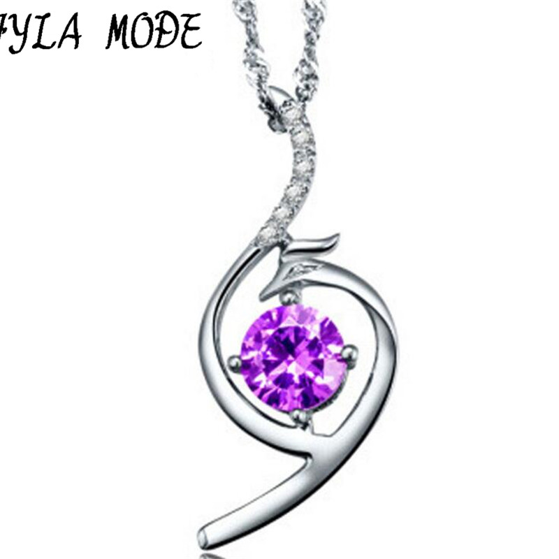 Fashion Pendant Necklace 925 Sterling Silver Fine Jewelry Purple Crystal Gorgeous <font><b>Phoenix</b></font> Women Girls Party Gift Collier