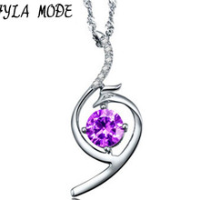 Fashion Pendant Necklace 925 Sterling Silver Fine Jewelry Purple Crystal Gorgeous Phoenix Women Girls Party Gift Collier