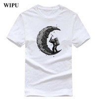 WIPU 100 Cotton Digging The Moon Print Casual Mens O Neck T Shirts Fashion Men S