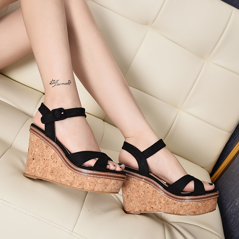 Women Sandals 2017 Gladiator New Fashion Summer High Heels Platform Open Toe Leather Shoes Beach Sandal Wedges Casual Fish Head woman fashion high heels sandals women genuine leather buckle summer shoes brand new wedges casual platform sandal gold silver