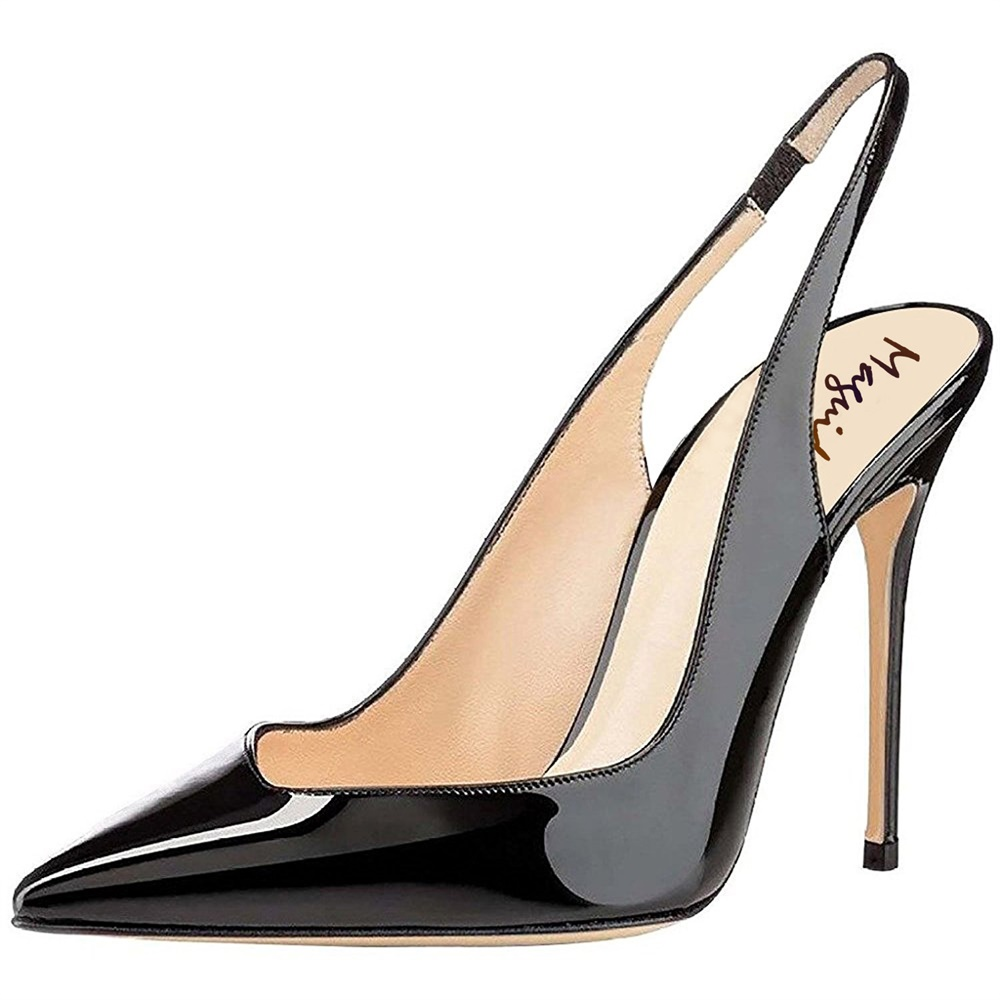 0c6179f389fe Maguidern summer women pumps high quality Patent Leather Pointy Toe  Stilettos Heel Slingback Pumps Dress Shoes