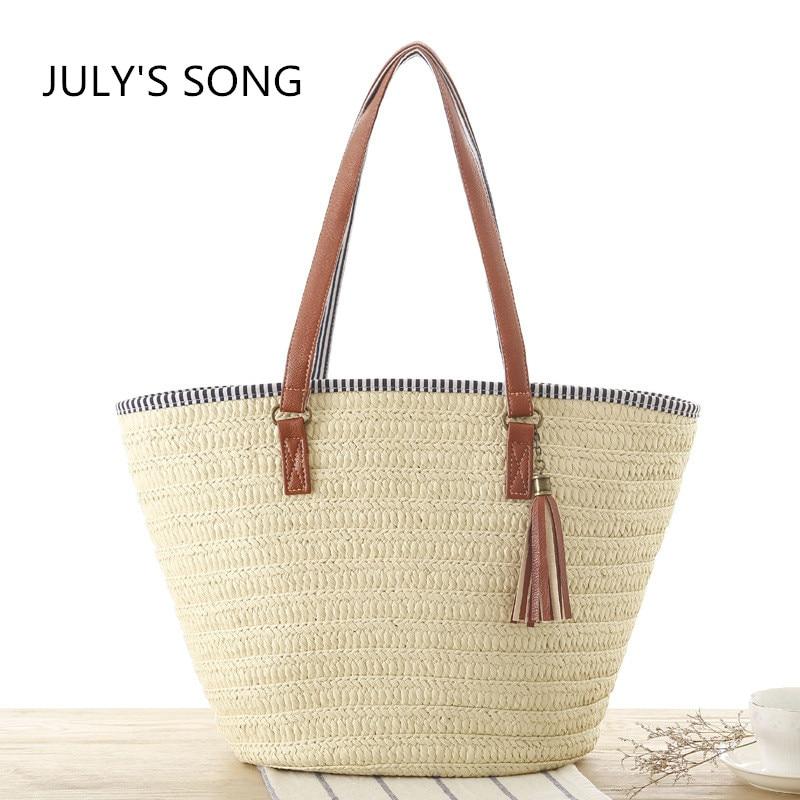 JULY'S SONG 2017 New Europe Simple fashion women Single shoulder woven beach bag Tassel pendant straw bags stripe shopping totes j p beach autumn song