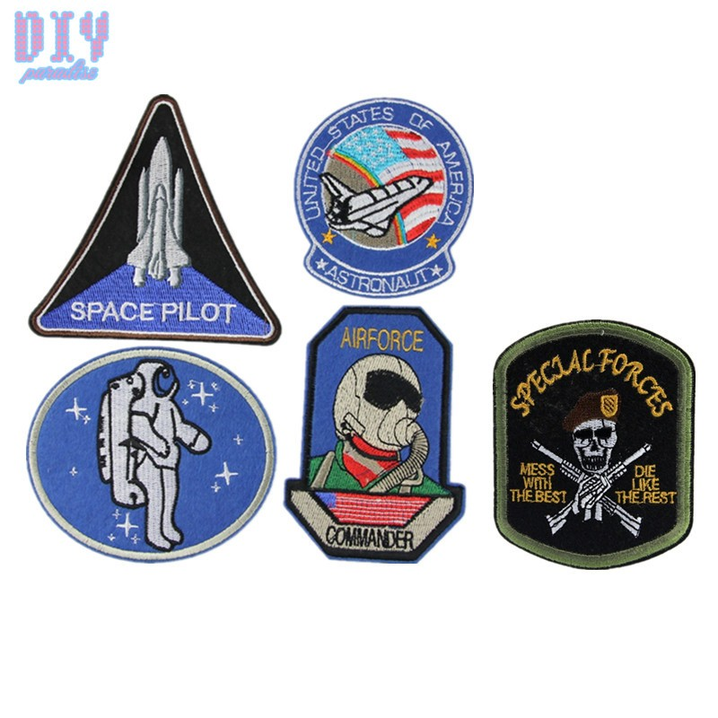 10pcs Lace Astronaut Airforce Badge Embroidered Sew Iron On Patches DIY Clothes Applique Fabric Apparel Bag Sewing Crafts