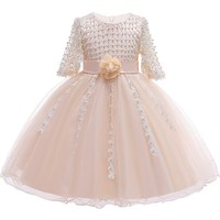JAYLAY Girl Dress For Wedding Party Embroidery Gold Sequins Flowers Princess Girls Dresses Summer Girl Ball Gown Dresses 3 12 Years
