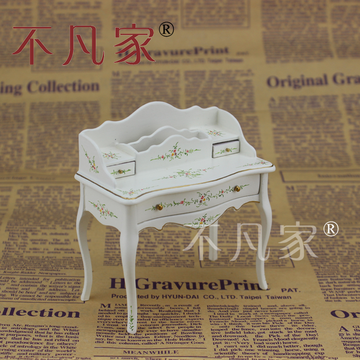 Dollhouse 1 12 Scale Miniature furniture handmade Hand painted white Escritoire