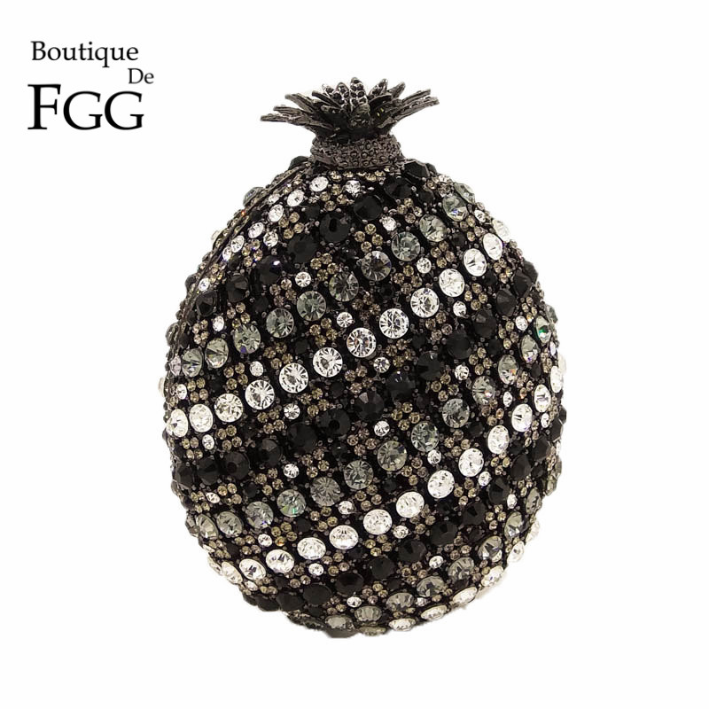 Boutique De FGG 3D Black Pineapple Shape Women Crystal Evening Minaudiere Handbag and Purse Diamond Wedding Clutch Bridal BagBoutique De FGG 3D Black Pineapple Shape Women Crystal Evening Minaudiere Handbag and Purse Diamond Wedding Clutch Bridal Bag