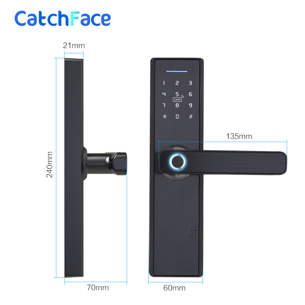 Image 5 - Fingerprint Lock Smart Card Digital Code Electronic Door Lock Home Security Mortise Lock with 5 Mortise Size Options-in Electric Lock from Security & Protection