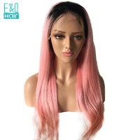 1B/Pink Two Tone Color Straight Chinese Human Remy Hair Lace Front Wigs With Black Roots Ombre Color Pre Plucked Glueless Wigs