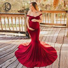 Купить с кэшбэком Don&Judy Maternity Dress for Photography Pregnancy Off Shoulder Cotton Long Pregnancy Dress Baby Shower Dress For Photo Shoot
