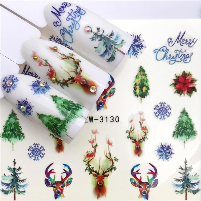 2019 nova série de natal arrivial água decalque animal/flamingo/flor 3d manicure adesivo de água do prego adesivo