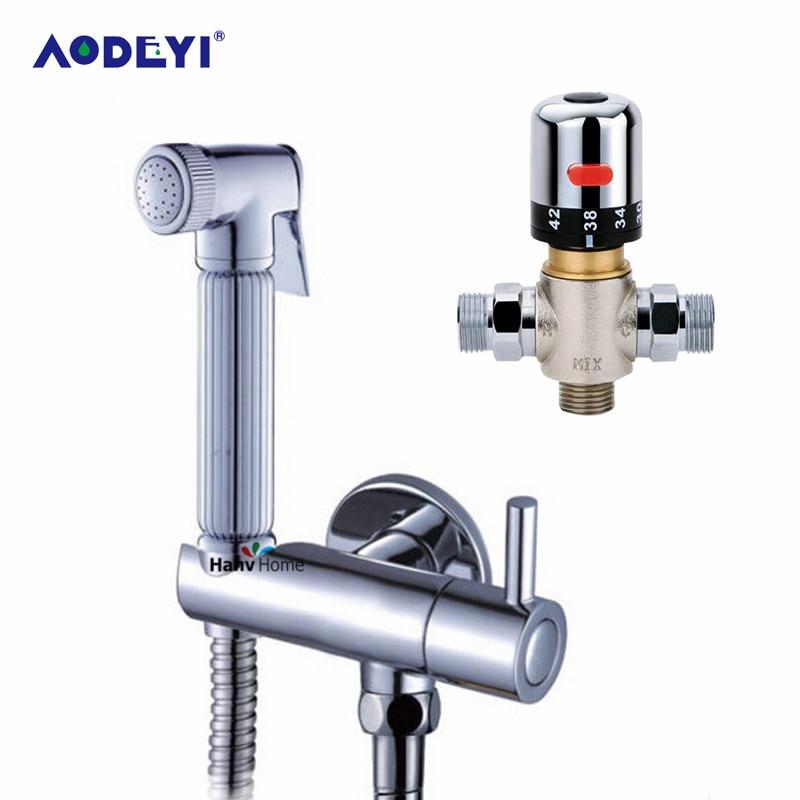 AODEYI robinets de Bidet thermostatiques mélangeurs robinets en laiton à main Bidet douche pulvérisateur vanne avec support tuyau de douche outil de salle de bain