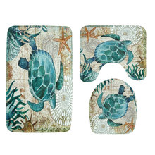 цена на 3 PCS Floor Mat Toilet Seat Rug No Slip Bath Carpet Bathroom Set Octopus Seahorse Shark Animals Pattern for Home Decor