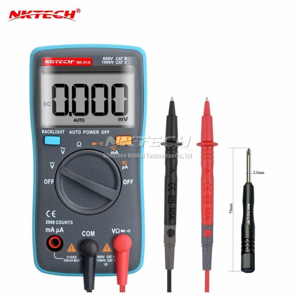NK51B VS RM100 Diagnostic-tool Digital Multimeter 6000Counts Backlight AC/DC Ohm Ammeter Temperature multimetro NK51A C D