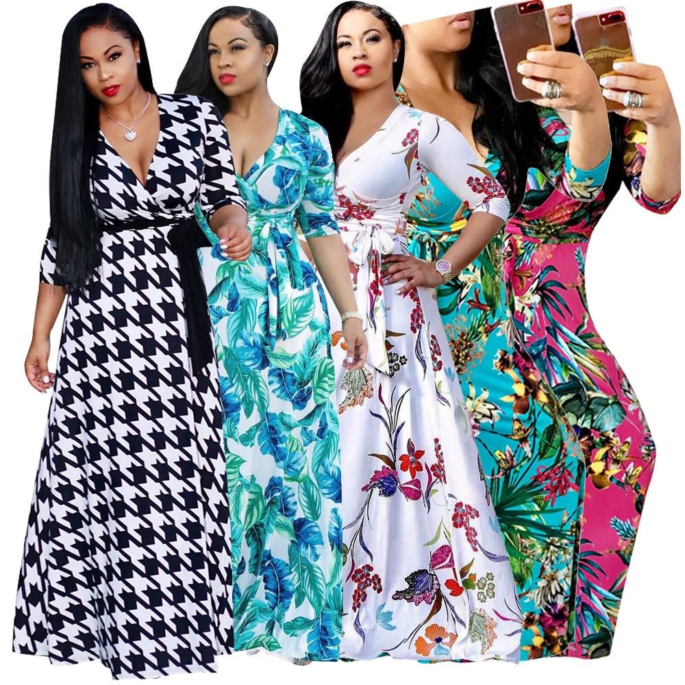 Women Boho Dresses Print Maxi Long Summer Clothes For Women Dress ...