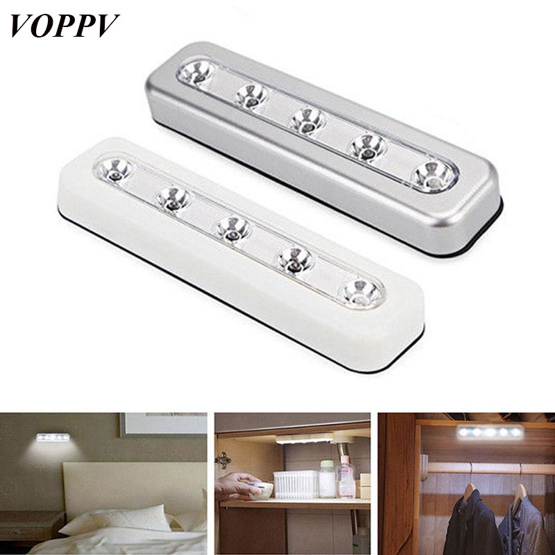 VOPPV 2pcs LED Under Cabinet Light for Kitchen/Bedroom/Closet/Cupboard Touch Sensor Wireless Battery Energysaving LED Light Lamp