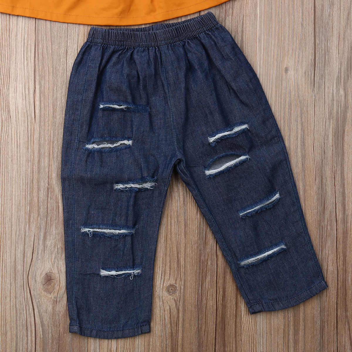 Одноцветные топы с открытыми плечами для маленьких девочек 1-5 лет + джинсовые длинные штаны с дырками, комплект одежды