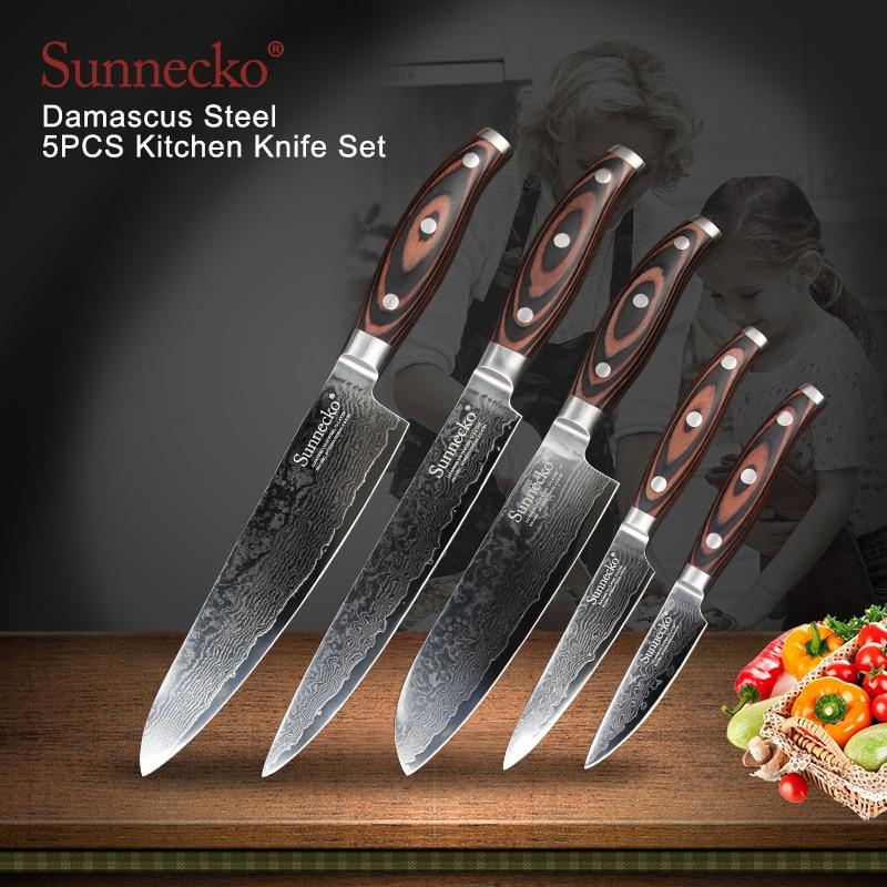 SUNNECKO 5PCS Kitchen Santoku Chef Utility Paring Knife Set Japanese Damascus VG10 Steel Pakka Wood Handle Gift Cutting Tools