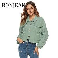 BONJEAN 2019 Autumn Clothing Long Sleeve Cotton Short Shirt for Women Chemise Femme Turn Down Collar Green Blouses BJ1443