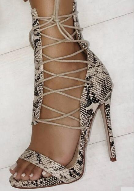 Big Size 43 Women Summer Python Snake Skin Open Toe Cross Lace Up Stiletto Heel Party High Heel Sandals Black Solid Sandals Shoe women sandals elegant style 2018 new square heel solid color medium heel black beige gray female summer sandals plus size 34 40