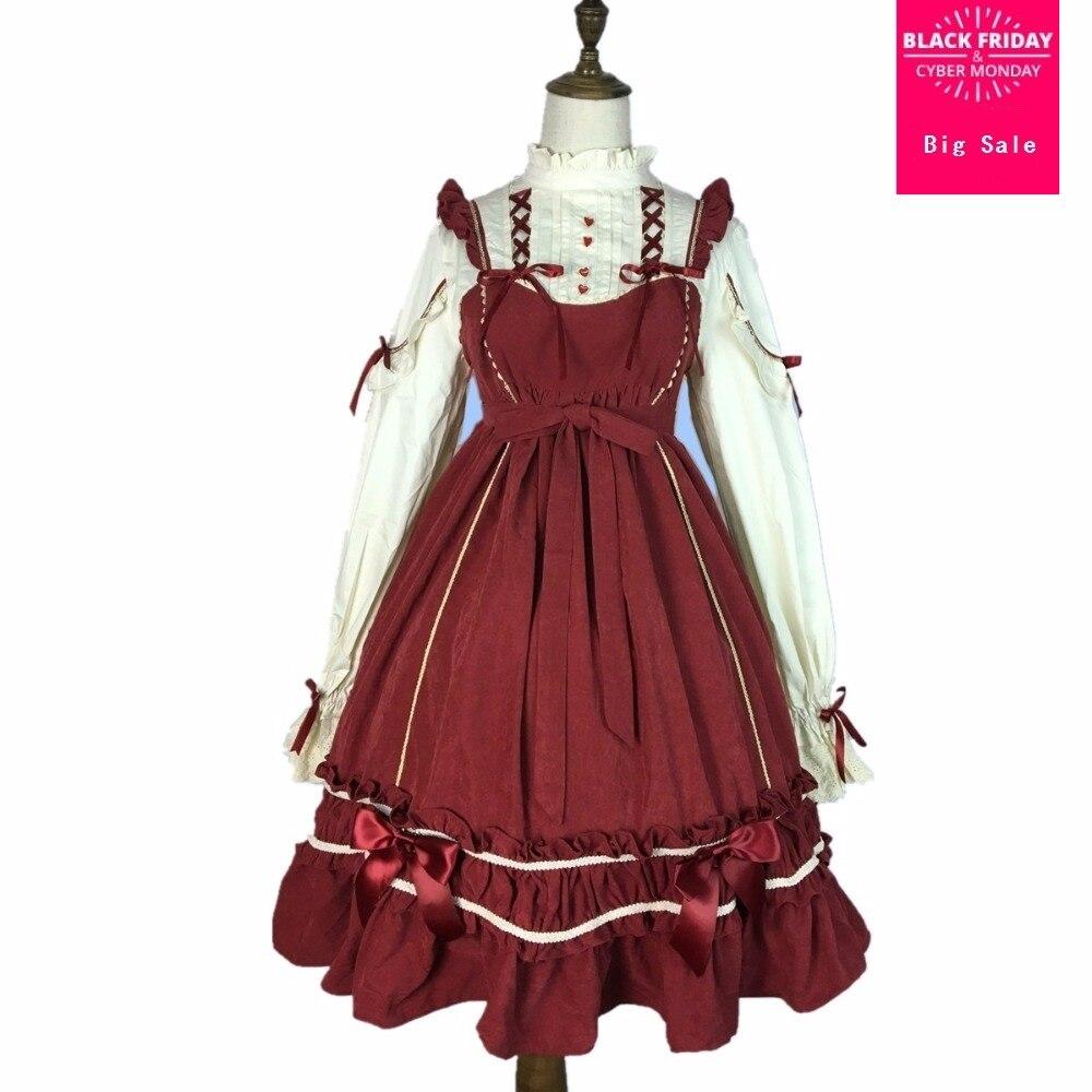 2019 nouvelle mode douce soeur lolita robe femme taille haute faux deux pièces à manches longues volants rétro robe wj1965 avec arc