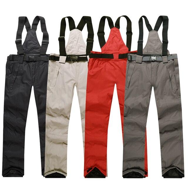 Men Ski Pants Brands 2018 New Warm Outdoor Sports Waterproof Thinken Women s  Snow Trousers Suspenders Winter 9dfc145a2