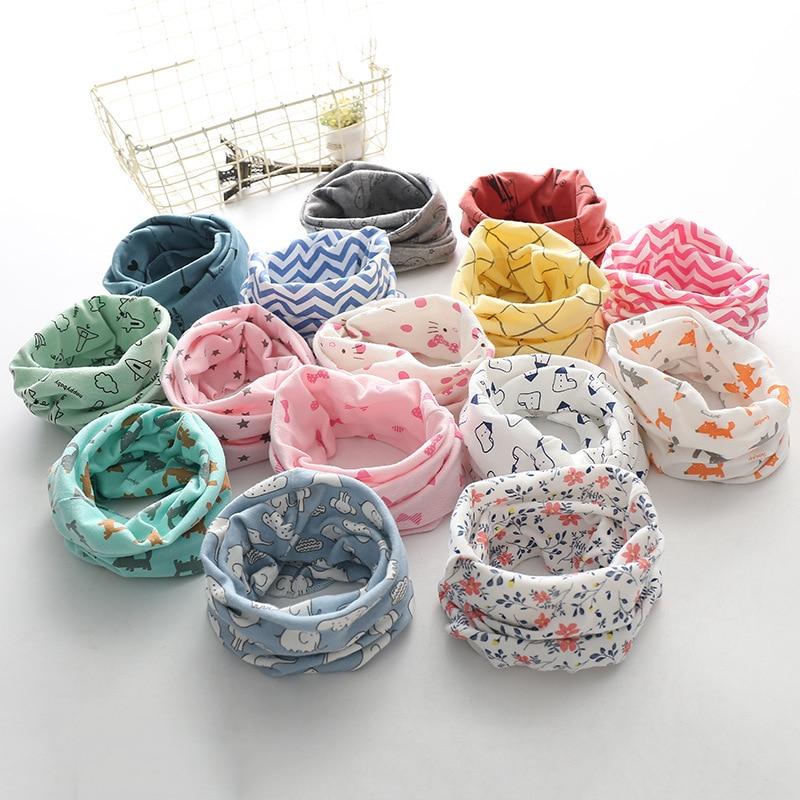 Korean Cotton Children's Scarf LIC Printed Cartoon Plaid Ring Scarves Girls Winter Warm Snud For A Boy Cachecol Kids Child Snood