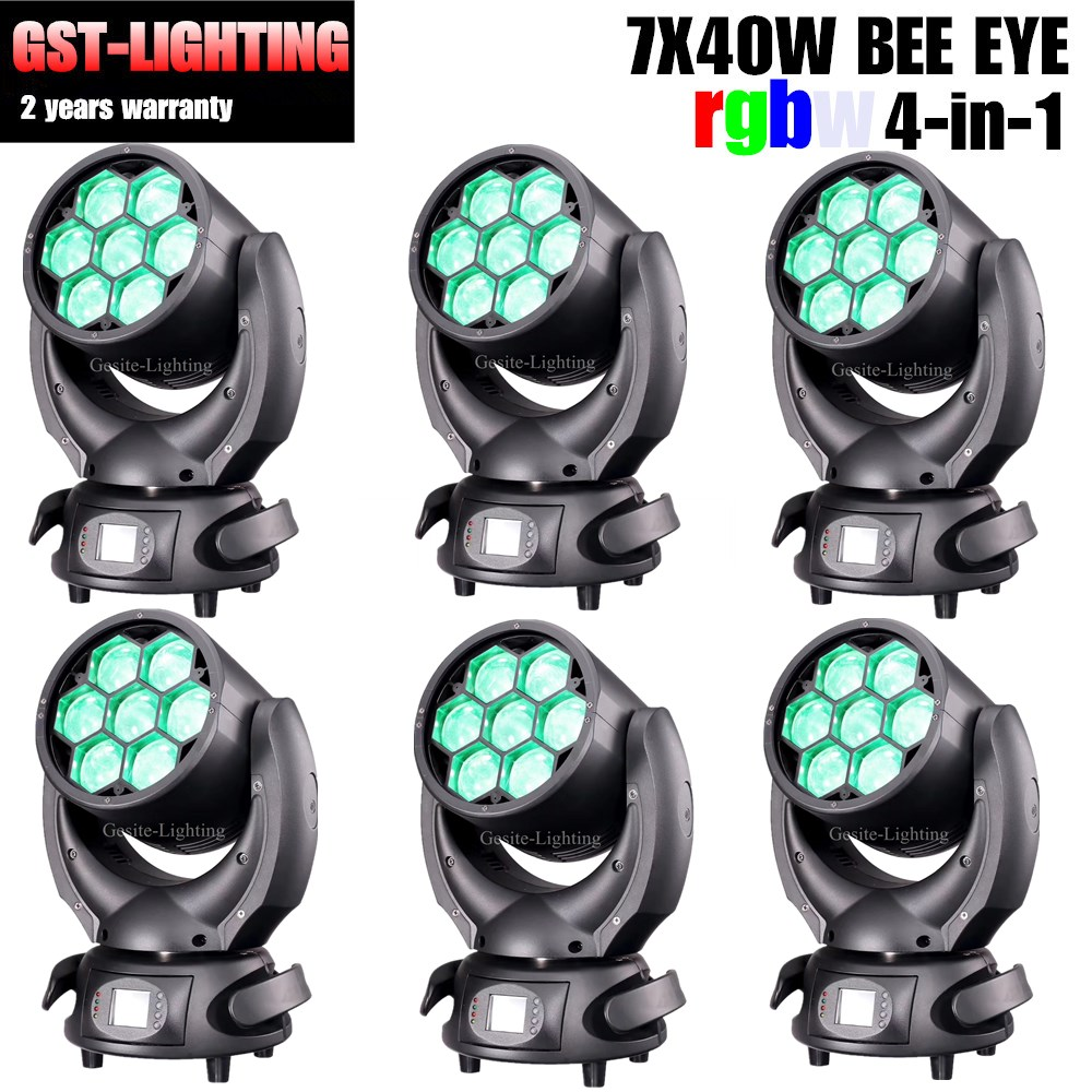 Commercial Lighting 6pcs/lot Led Bee Eyes Mini 7x40w Stage Zoom Wash Rgbw Moving Head Light