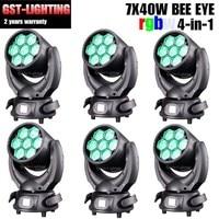 6pcs/lot LED Bee Eyes Mini 7x40w Stage Zoom Wash RGBW Moving Head Light
