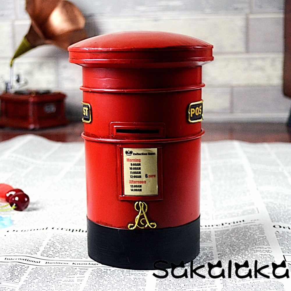 European Retro London Red Post Box Piggy Bank Creative Home Decoration Iron  Storage Tank