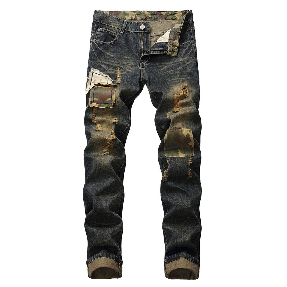 Cotton   Jeans   Men Spring 2019 MenClothes Casual Straight Distressed Denim Trouser Pants Casual Trousers Stretch Ripped   Jeans