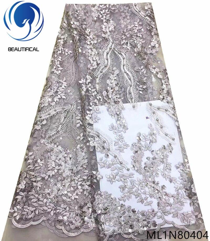 Beau tissu de dentelle nigérian brodé tissu de dentelle gris tissu de dentelle européenne filet français 5 yards/lot avec des paillettes ML1N804