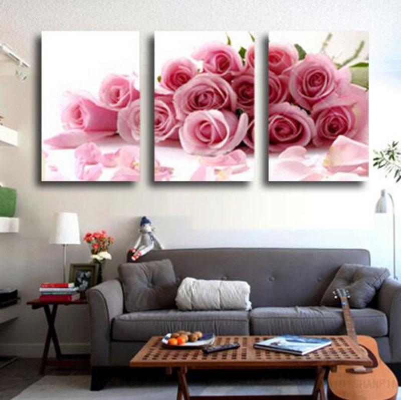 Romantic Design Loving Room Decoration Pink Rose Flowers 3 Pcs Canvas Pantings Bedroom Pictures Unframed