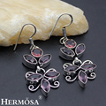 Hermosa jewelry Exclusive design Retro beautiful  amethyst 925 Sterling Silver fashion Earrings HF912