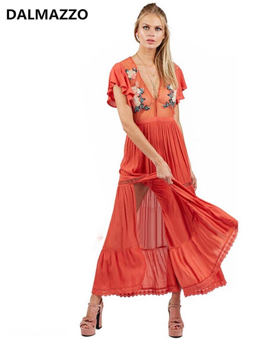 2018 nouveau bohème Chic fleur broderie mexicaine Boho femmes longue robe de haute qualité lâche à manches courtes Perspective robe Vestido