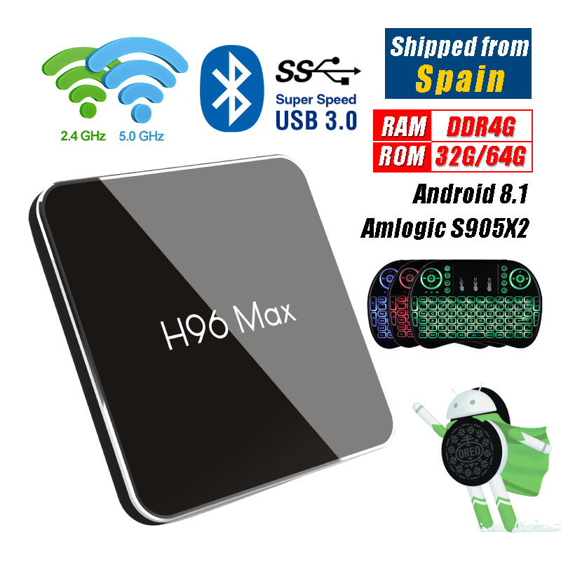 H96 MAX X2 2G 4G 32G 64G Android 8,1 caja de TV S905X2 USB 3,0 Bluetooth 4,1 set-top Box H96MAX 1080 p H.265 4 K reproductor multimedia inteligente