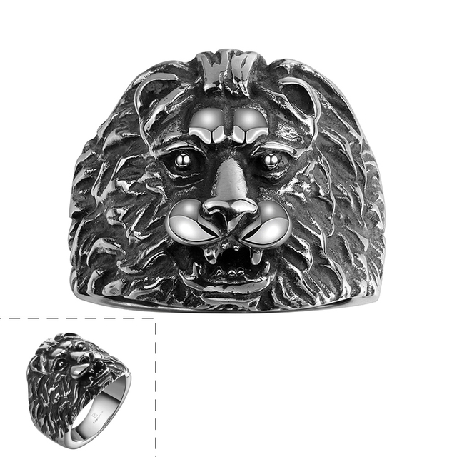 Symbol Of Right Big Lion Head Shaped Ring Gomaya Stainless Steel