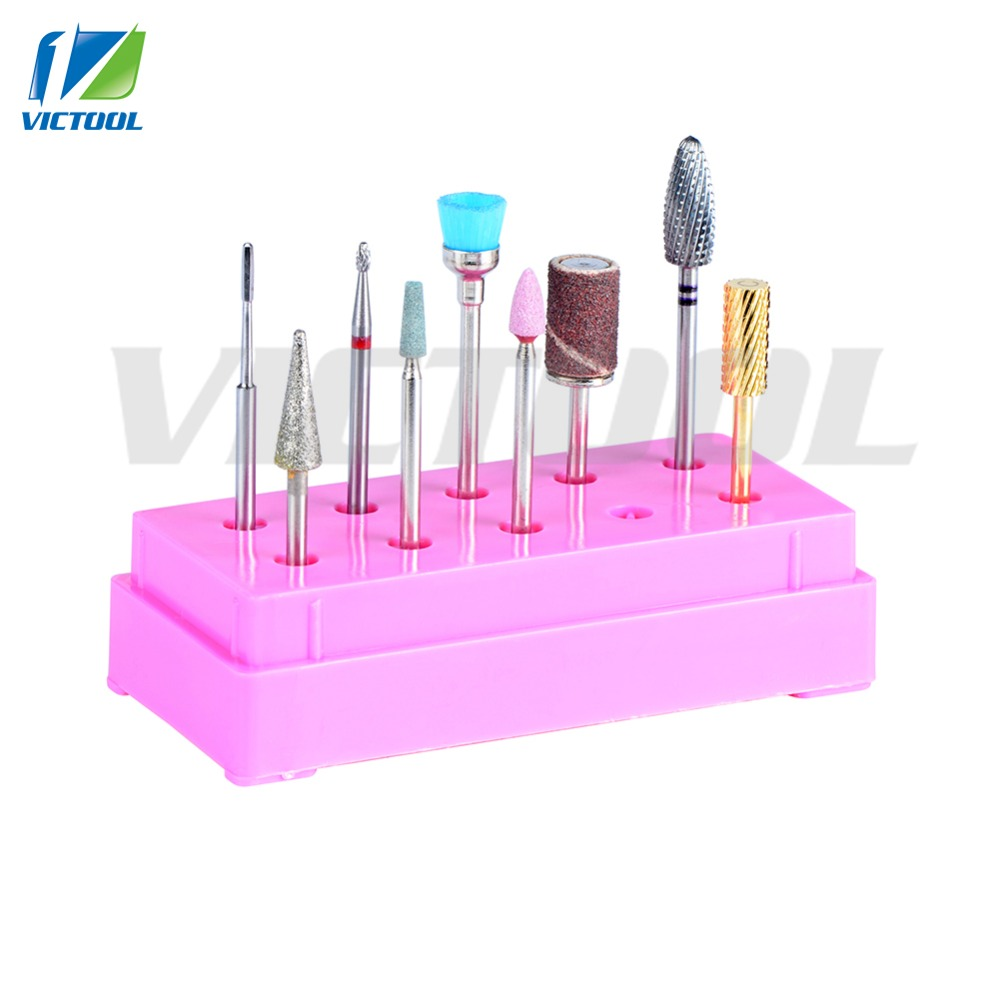 High Quality 9pcs Nail Drill Bits Metal Stone Bits Professional Manicure Pedicure Tools Electric Drill