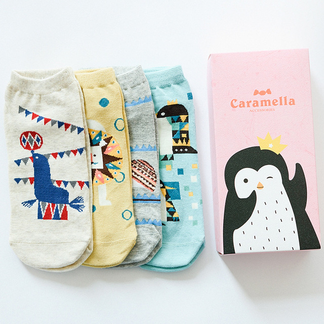 Gift box spring summer cute cartoon animal pattern cotton socks for women  brand boat socks female fashion ankle socks 4pairs cf0eeb2068