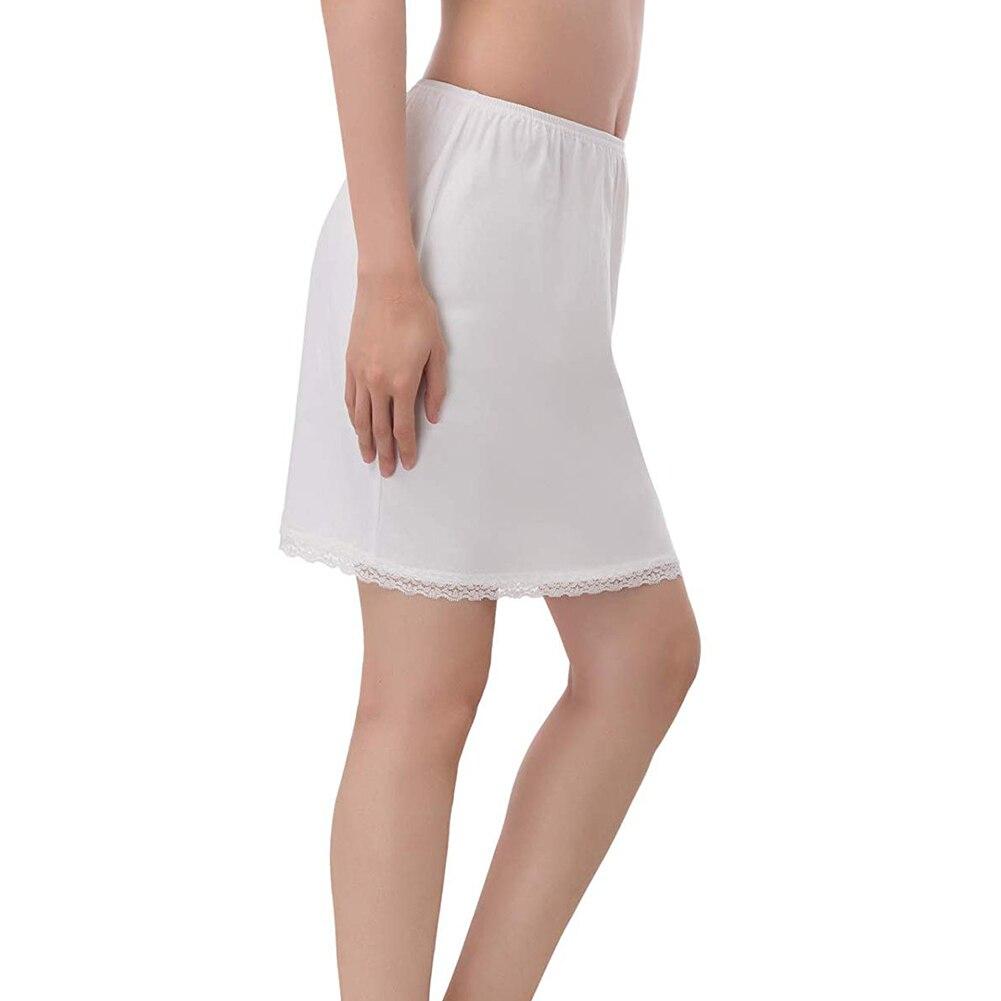 2019 Fashion Summer Solid Polyester Skirt Women Elastic Waist Half Slip Petticoat Skirts Underskirt Lady Crinoline White/Black