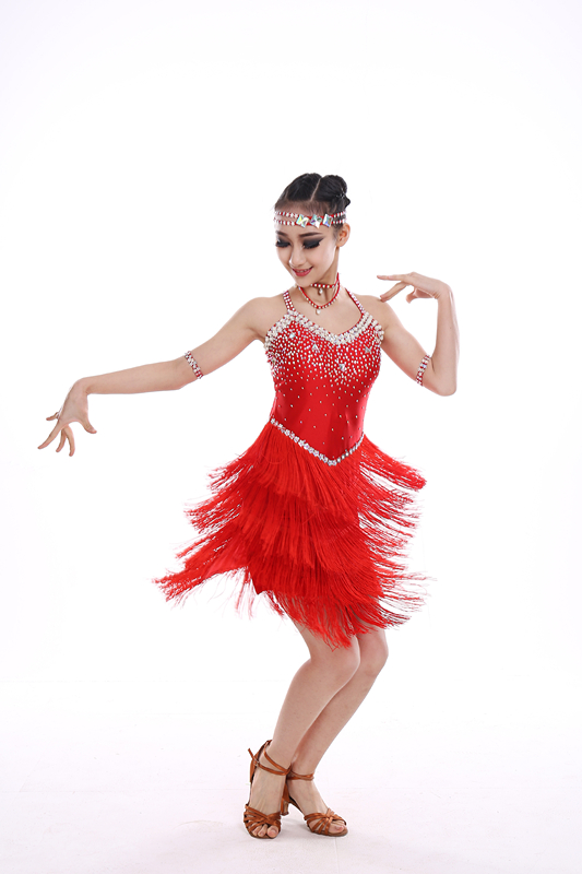 Jupe de danse latine pour enfants 2018 nouvelle robe de danse de compétition latine Sumba gland haute qualité filles jupe frange latine