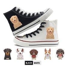 Cão bonito Harajuku Padrão Impresso Sapatos de Graffiti salto alto parte superior de lona estudante personalizar Moderno Preto/Branco Estilo A194112