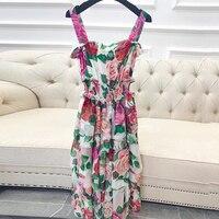 Богемное платье для женщин Лето 2019 сарафан с цветочным принтом длинные спагетти ремень платья для Мода