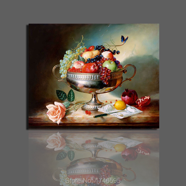 New Hot For Kitchen Decor Dining Room Fruits Flower Wall Art Picture Still Life Printed Oil Painting On Canvas Prints