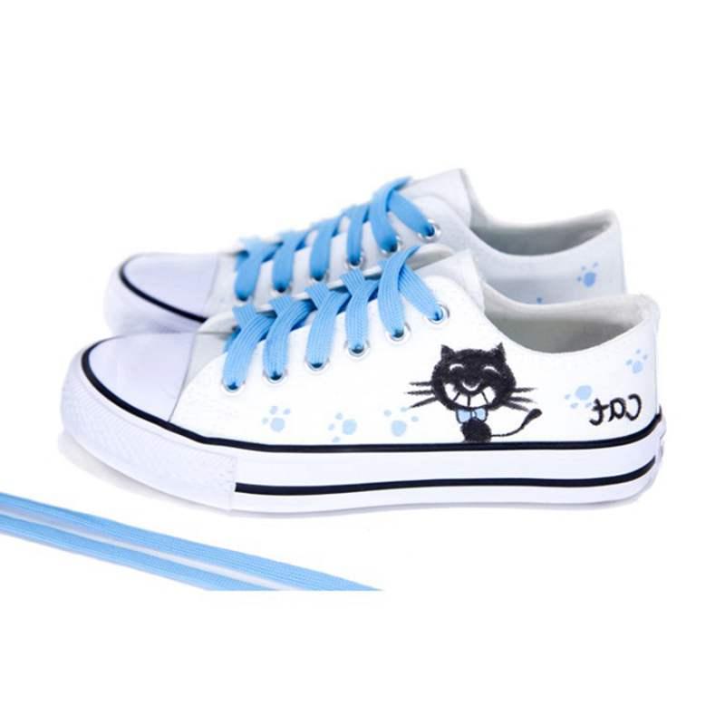 Femme De Noir Sneakers Profonde G041 Bande Pour Bout Peu Automne Chaussures Rond black Printemps Up Femmes Appartements Toile Blanc Dessinée Blue Lace red Asileto tOq0ff