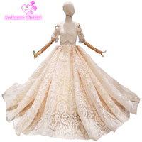 Champagne Wedding Dresses 2019 Telass Dubai Ball Gown Wedding Gown Long Sleeves Tulle Beaded Robe De Mariage Heavy Weight