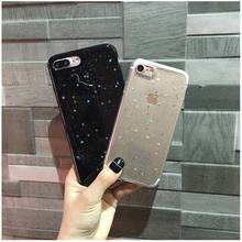 Bling Black bottom colorful Stars powder Case For iPhone 7 6 6S Plus Phone cute Cover For iPhone 6 6S 7 Back Capa lina