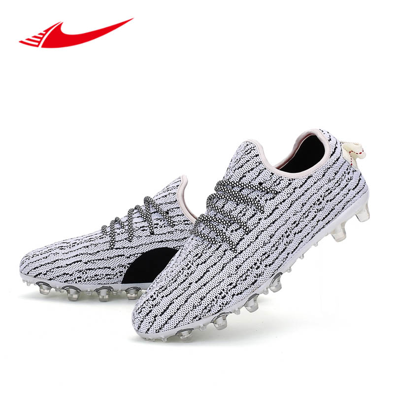 Fly Weaving Men Soccer Shoes Adults Long Spikes Sport Football Shoe Outdoor Turf Cleats Men Sneakers Futbol Erkek Krampon