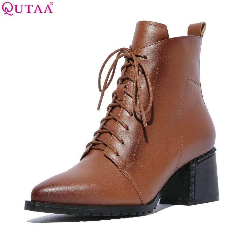 Qutaa 2020 mulheres tornozelo botas de inverno sapatos de couro de vaca + plutônio plataforma zíper e rendas até sapatos femininos botas de mulher tamanho grande 34-42